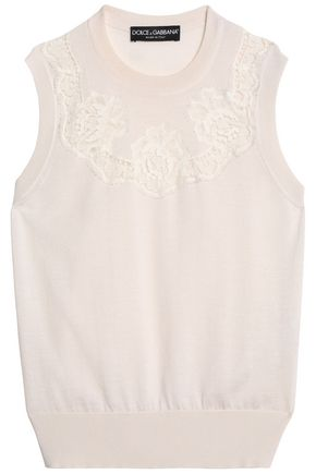 DOLCE & GABBANA Lace-trimmed cashmere and silk-blend top
