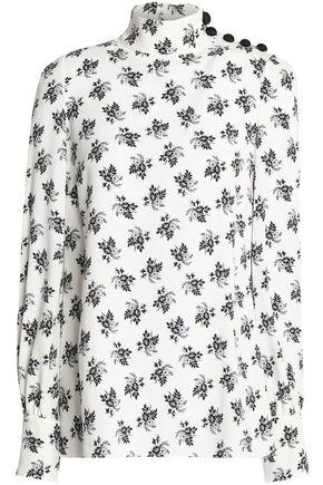 DOLCE & GABBANA Floral-print crepe turtleneck blouse
