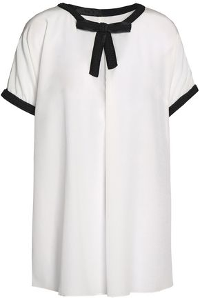 DOLCE & GABBANA Bow-detailed silk-blend crepe blouse