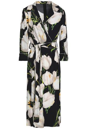 DOLCE & GABBANA Floral-print crepe midi wrap dress