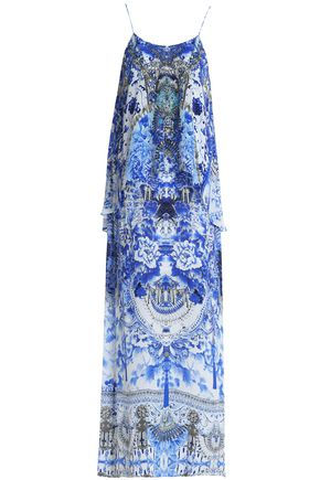 CAMILLA Crystal-embellished printed crepe de chine maxi dress