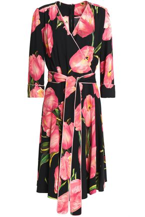DOLCE & GABBANA Floral-print crepe wrap dress
