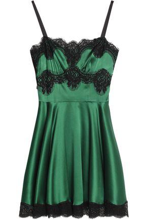 DOLCE & GABBANA Lace-trimmed pleated silk-blend satin mini dress