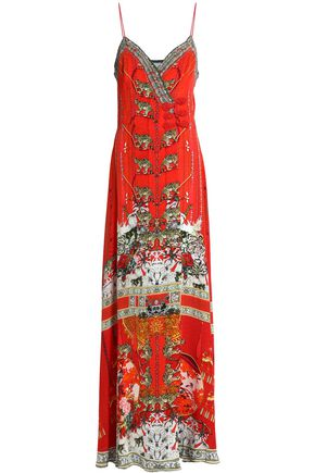 CAMILLA Crystal-embellished printed silk crepe de chine wrap maxi dress