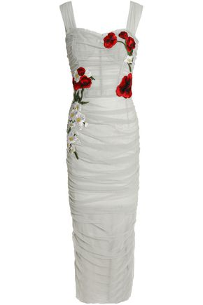 DOLCE & GABBANA Appliquéd ruched tulle midi dress