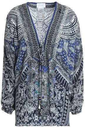 CAMILLA Crystal-embellished printed silk crepe de chine top