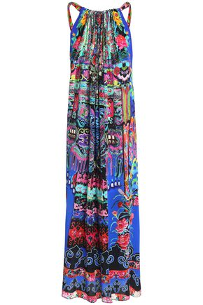 CAMILLA Tie-back crystal-embellished printed silk maxi dress