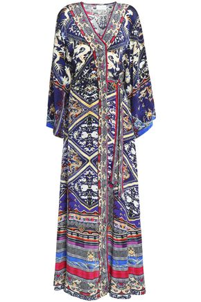 CAMILLA Printed silk crepe de chine maxi wrap dress