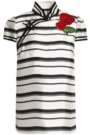 DOLCE & GABBANA Appliquéd striped silk-twill top