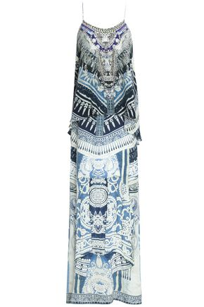 CAMILLA Layered printed silk crepe de chine maxi dress