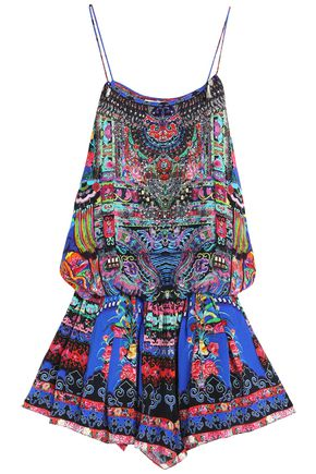 CAMILLA Hani Heaven crystal-embellished printed silk coverup