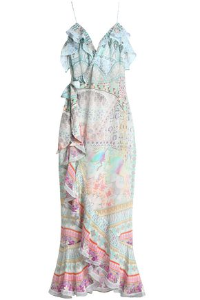 CAMILLA Wrap-effect printed silk crepe de chine midi dress