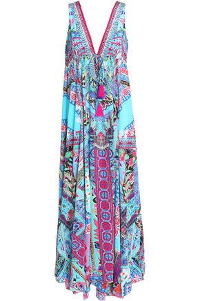 CAMILLA Crystal-embellished printed silk maxi dress