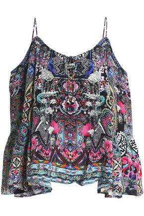 CAMILLA Off-the-shoulder printed silk top