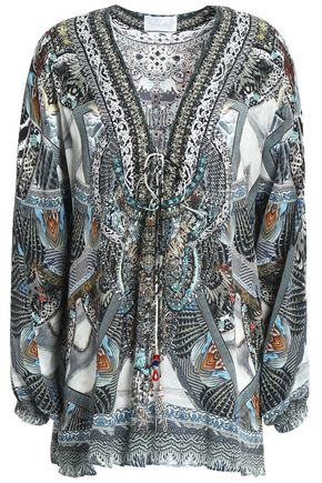 CAMILLA Lace-up crystal-embellished printed silk tunic