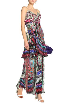 Crystal Embellished Printed Silk Crepe De Chine Wrap Dress by Camilla