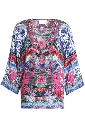 CAMILLA Printed silk top