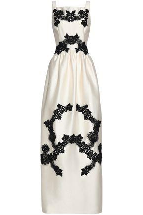 DOLCE & GABBANA Lace-trimmed hammered-satin maxi dress