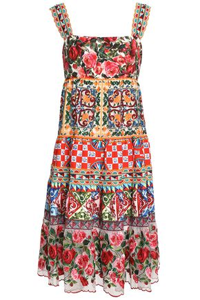DOLCE & GABBANA Paneled embellished printed cotton-blend dress