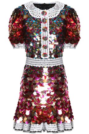 DOLCE & GABBANA Lace-trimmed sequined crepe mini dress