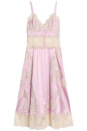 DOLCE & GABBANA Corded lace-trimmed silk-blend satin midi dress
