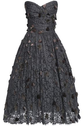 DOLCE & GABBANA Strapless velvet-appliquéd cotton-blend corded lace dress