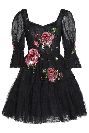 DOLCE & GABBANA Flared embellished point d'espirit and tulle mini dress