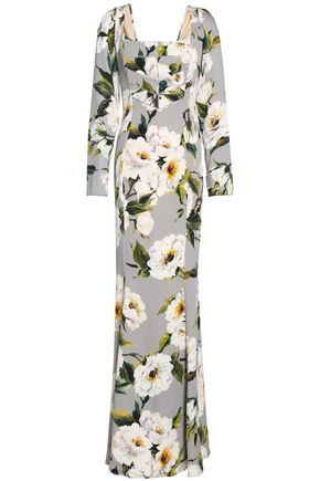 DOLCE & GABBANA Floral-print silk-satin maxi dress
