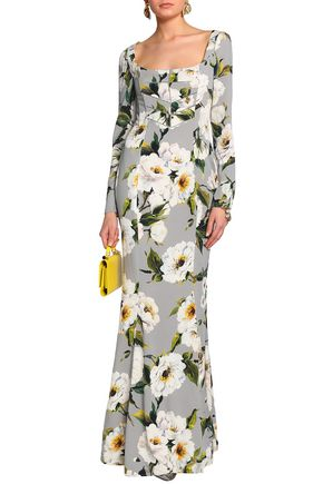 DOLCE & GABBANA Floral-print silk-satin gown