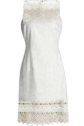 ELIE TAHARI Embroidered orgnaza-paneled linen-blend dress