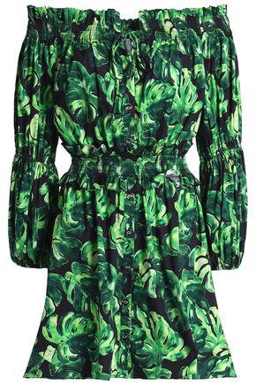 CAROLINE CONSTAS Off-the-shoulder ruffle-trimmed printed cotton-blend poplin mini dress