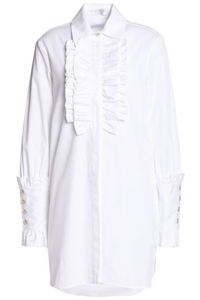 CAROLINE CONSTAS Boyfriend Tuxedo ruffle-trimmed cotton-poplin mini dress