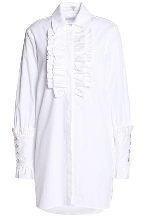 CAROLINE CONSTAS Boyfriend Tuxedo ruffle-trimmed cotton-poplin mini dress