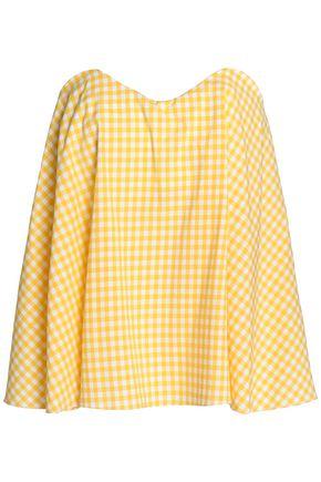 CAROLINE CONSTAS Coco strapless gingham cotton-poplin top