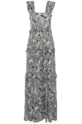 DODO BAR OR Ruffle-trimmed printed silk-crepe de chine maxi dress