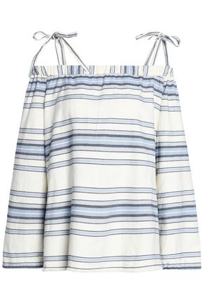 LEMLEM Cold-shoulder striped cotton and linen-blend top