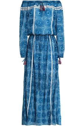 LEMLEM Off-the-shoulder gathered printed cotton-gauze maxi dress