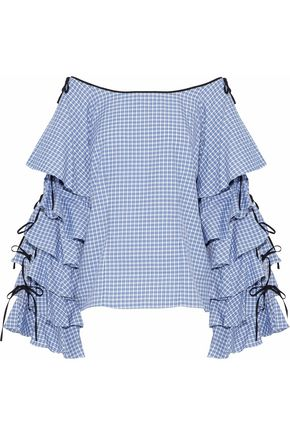 CAROLINE CONSTAS Amelie tiered gingham cotton-poplin top