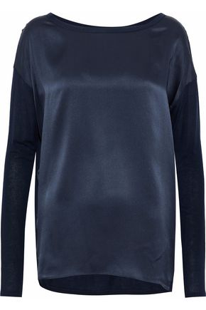 VINCE. Silk satin-paneled jersey top