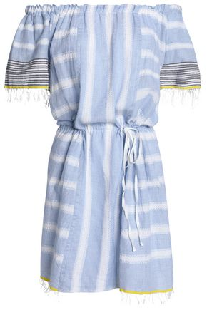 LEMLEM Off-the-shoulder striped cotton-gauze coverup