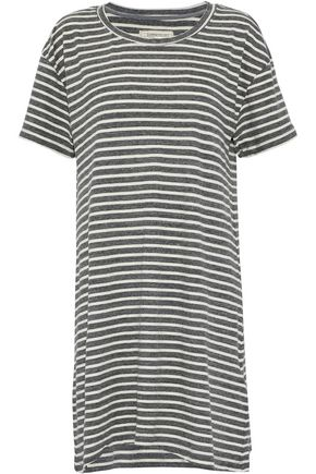 CURRENT/ELLIOTT Striped cotton-blend jersey mini dress