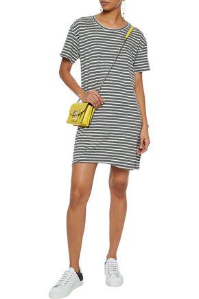 CURRENT/ELLIOTT Striped cotton-blend jersey mini dress