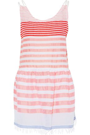 LEMLEM Striped cotton-blend gauze mini dress