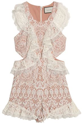 ALEXIS Cutout ruffled corded lace playsuit