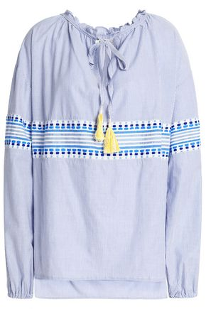 LEMLEM Embroidered striped cotton-blend top
