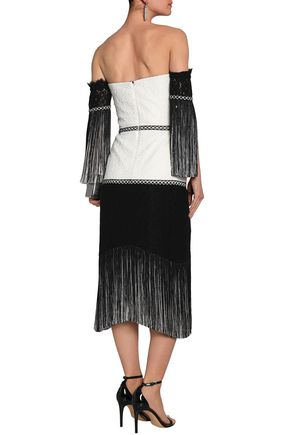 ALEXIS Off-the-shoulder fringed two-tone corded lace midi dress