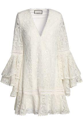 ALEXIS Ruffled guipure lace mini dress