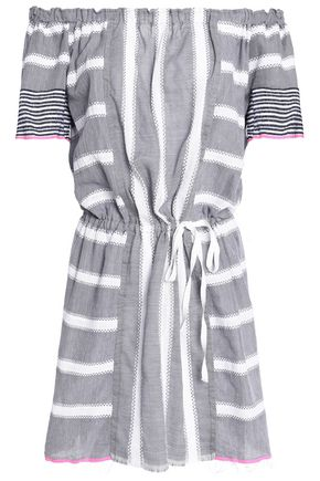 LEMLEM Off-the-shoulder striped cotton-gauze mini dress