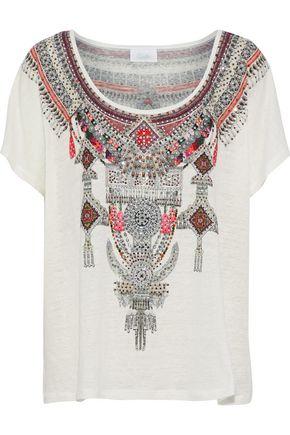 CAMILLA Crystal-embellished printed slub linen top