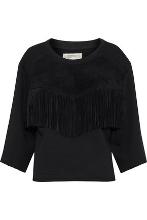 CURRENT/ELLIOTT Fringed suede-paneled cotton-terry top